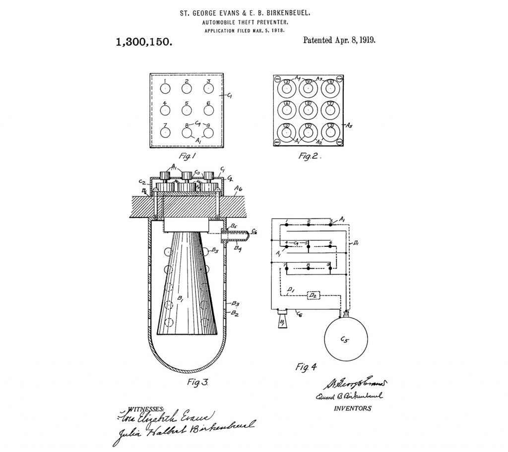Um sistema antifurto para carros foi patenteado pela primeira vez em 1919