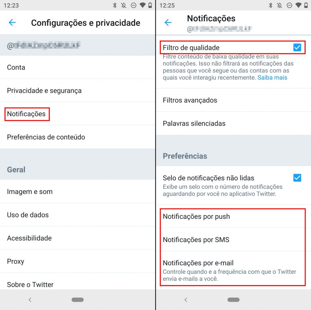 Como desabilitar as notificações no Twitter
