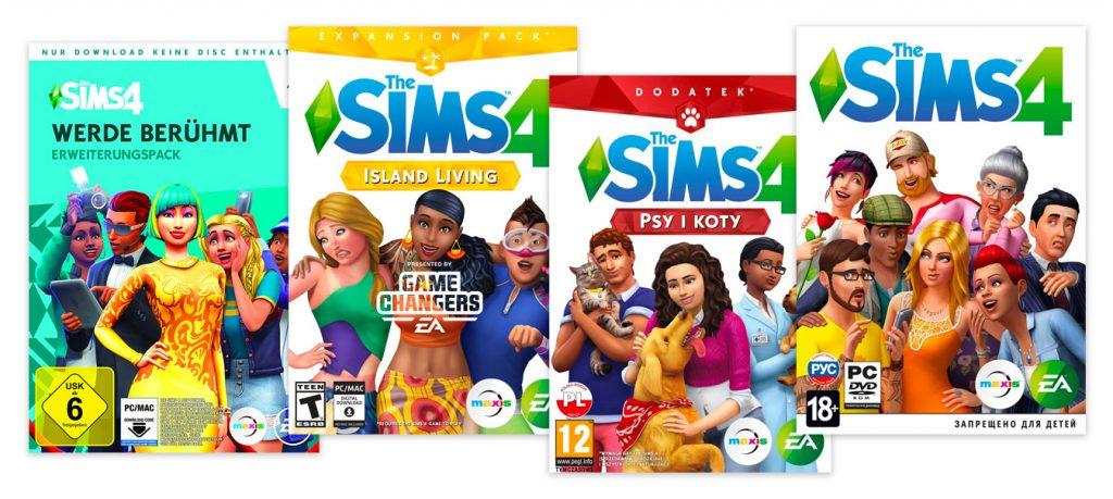 Diferentes classificações de idade para o jogo The Sims 4: do 6+ no alemão USK ao T e 12+ no ESRB e PEGI, respectivamente, e até 18+ no russo RARS