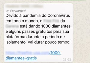 Tela do golpe disseminado via WhatsApp