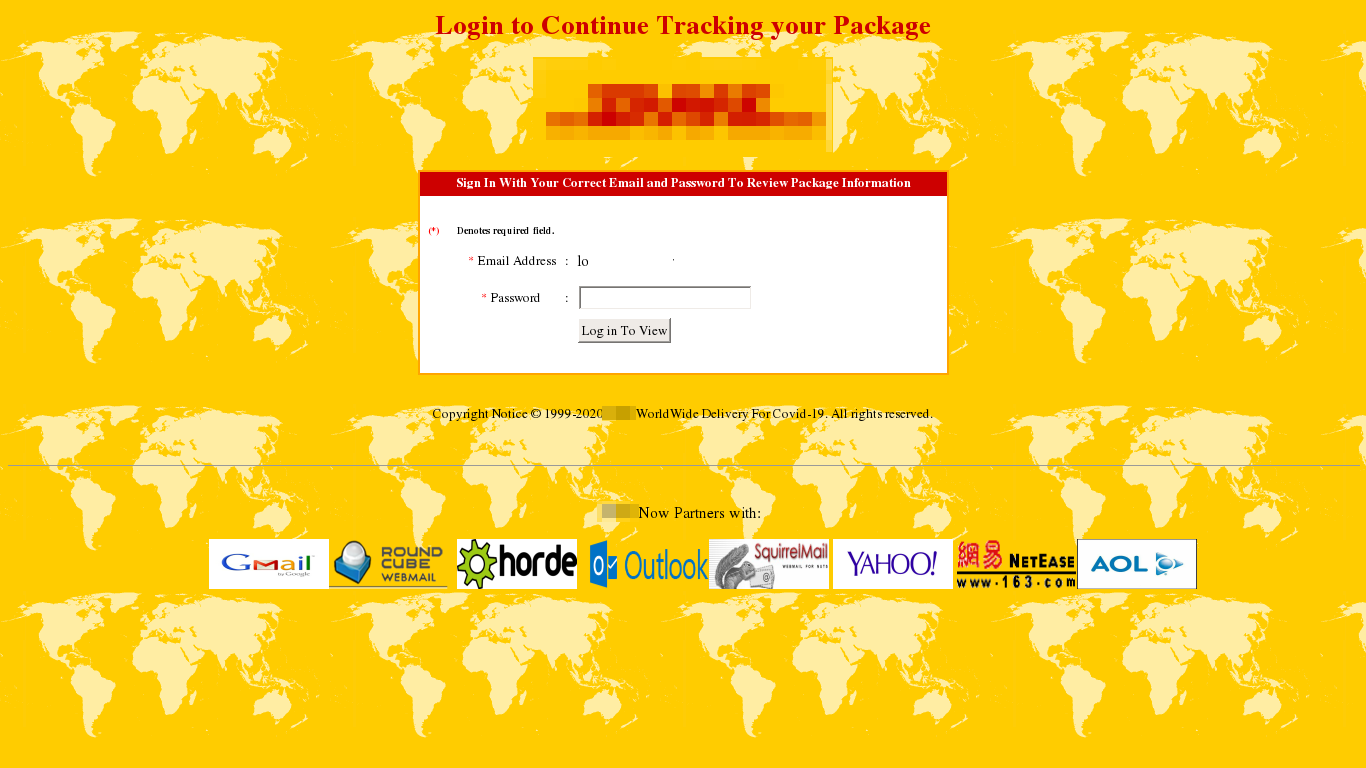 Página falsa de rastreio de pacotes
