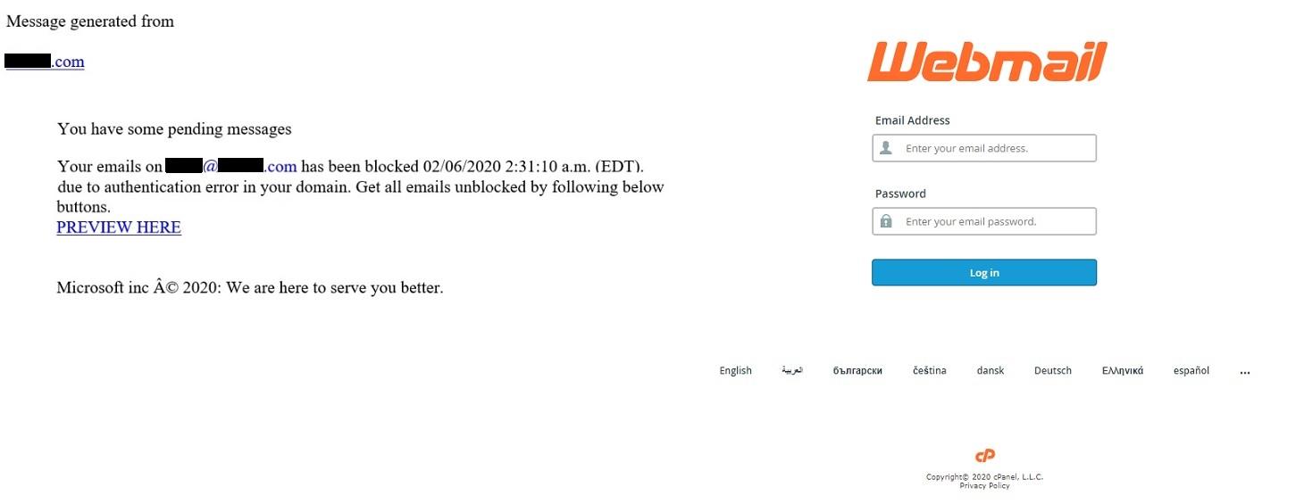 Notificação de falha de entrega falsa. Mensagem e página de login