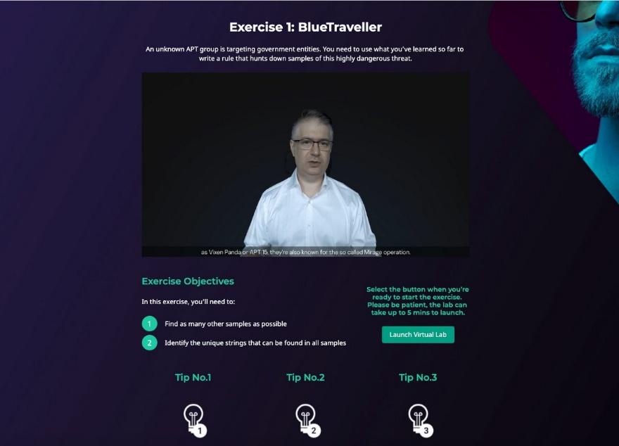 Exercício de treinamento online de cibersegurança: BlueTraveller