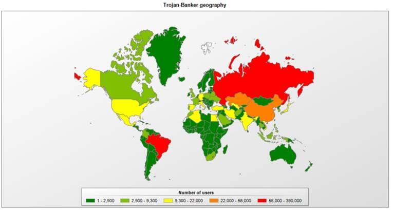 Países mais atacados por trojans bancários