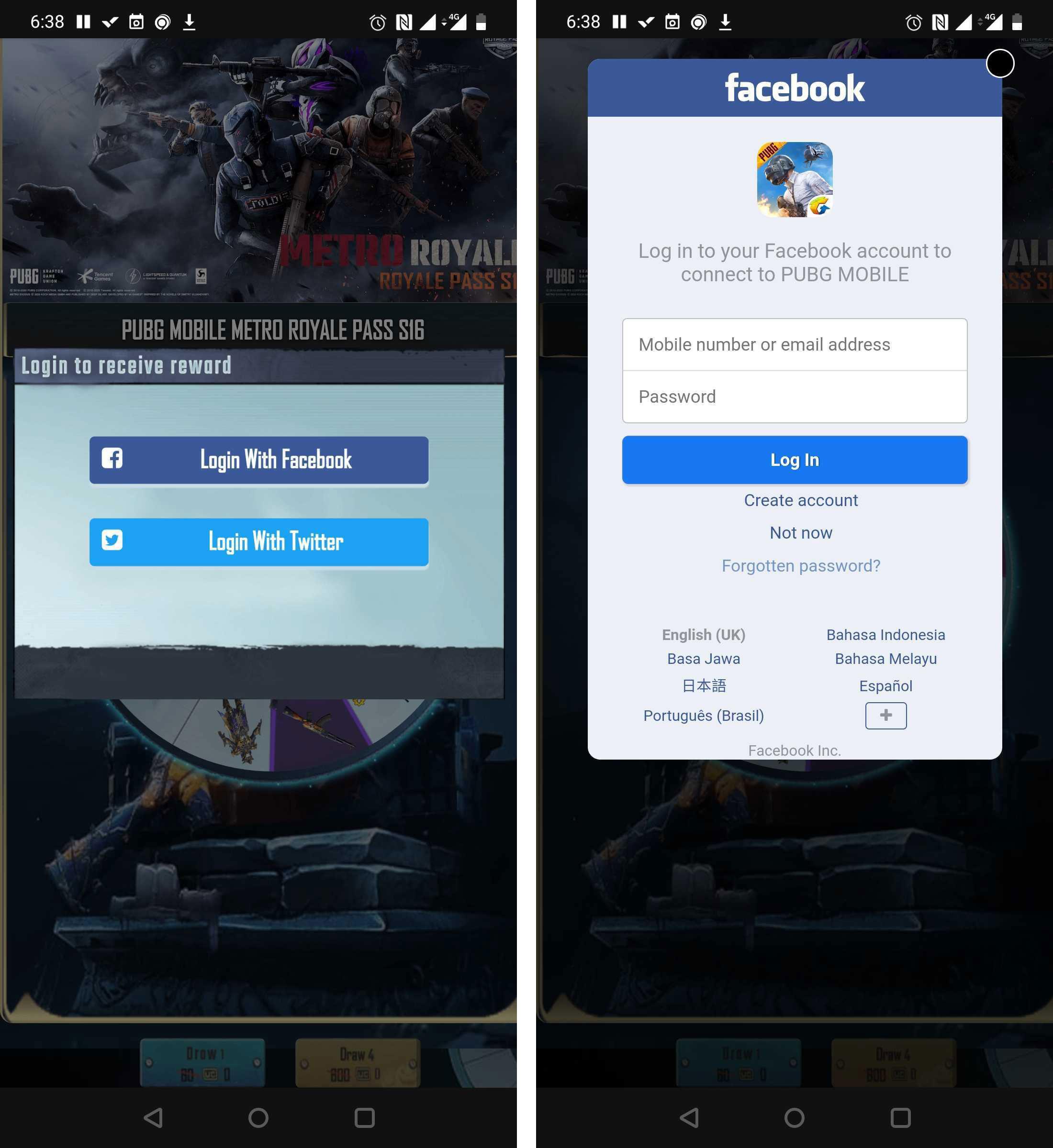 Páginas de phishing com login do Twitter ou Facebook— uma opção familiar para os jogadores de PUBG Mobile