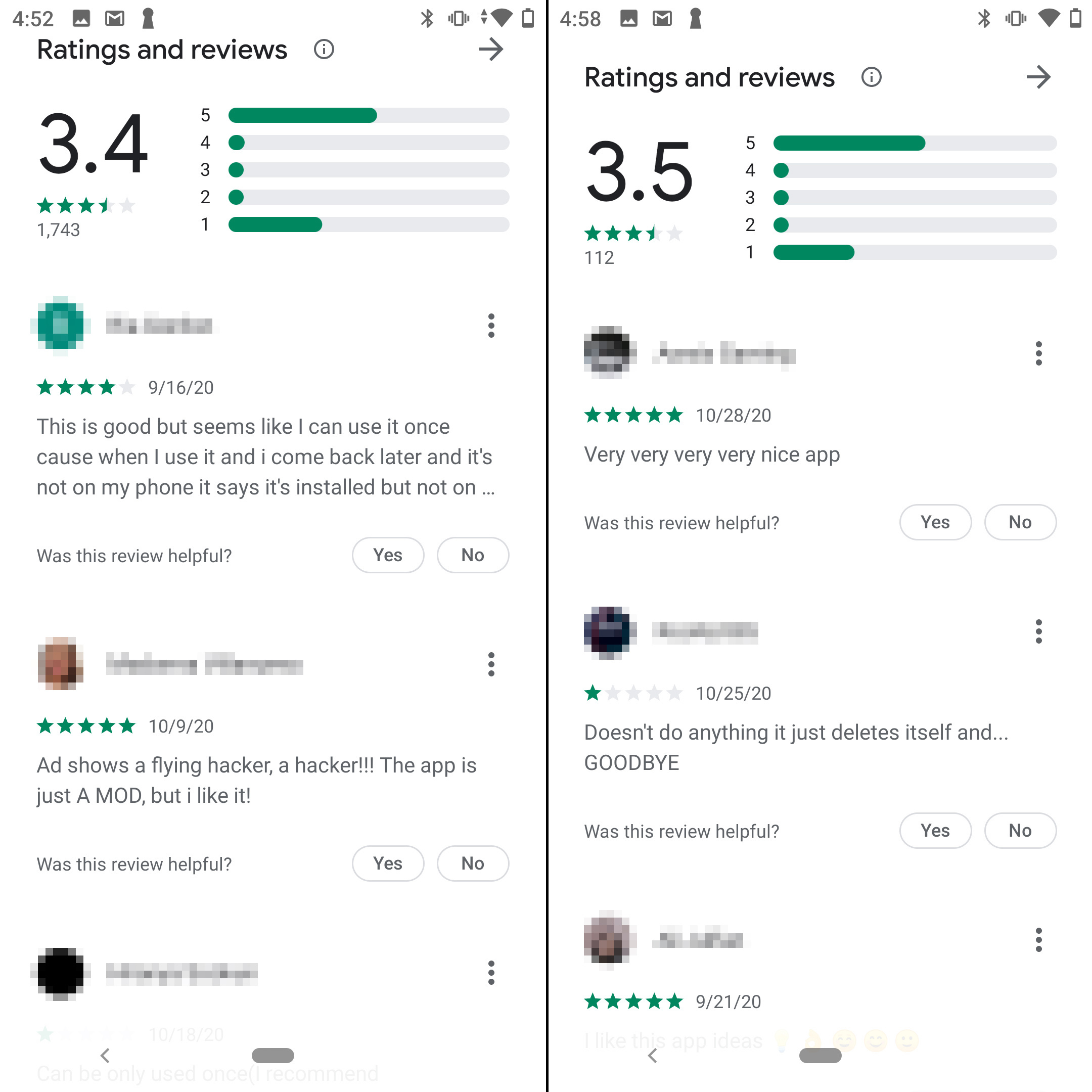 os aplicativos recebem classificações individuais de 1 ou 5 estrelas. Suspeito!