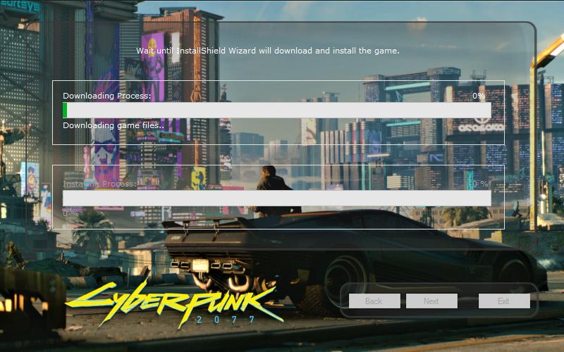 O instalador fake emula fazer o download do Cyberpunk 2077. Não leia com atenção