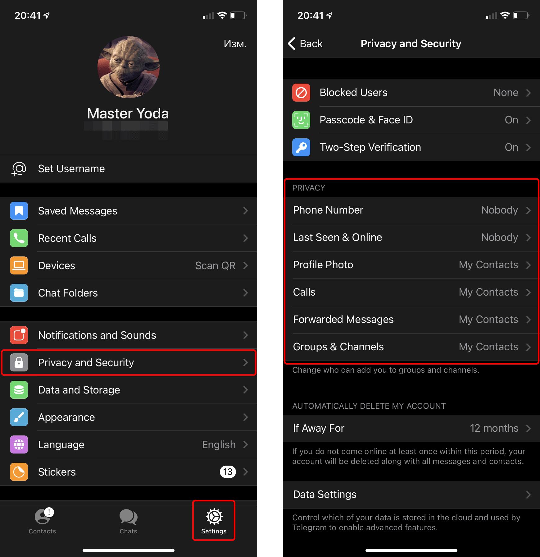 como configurar a privacidade do seu Telegram