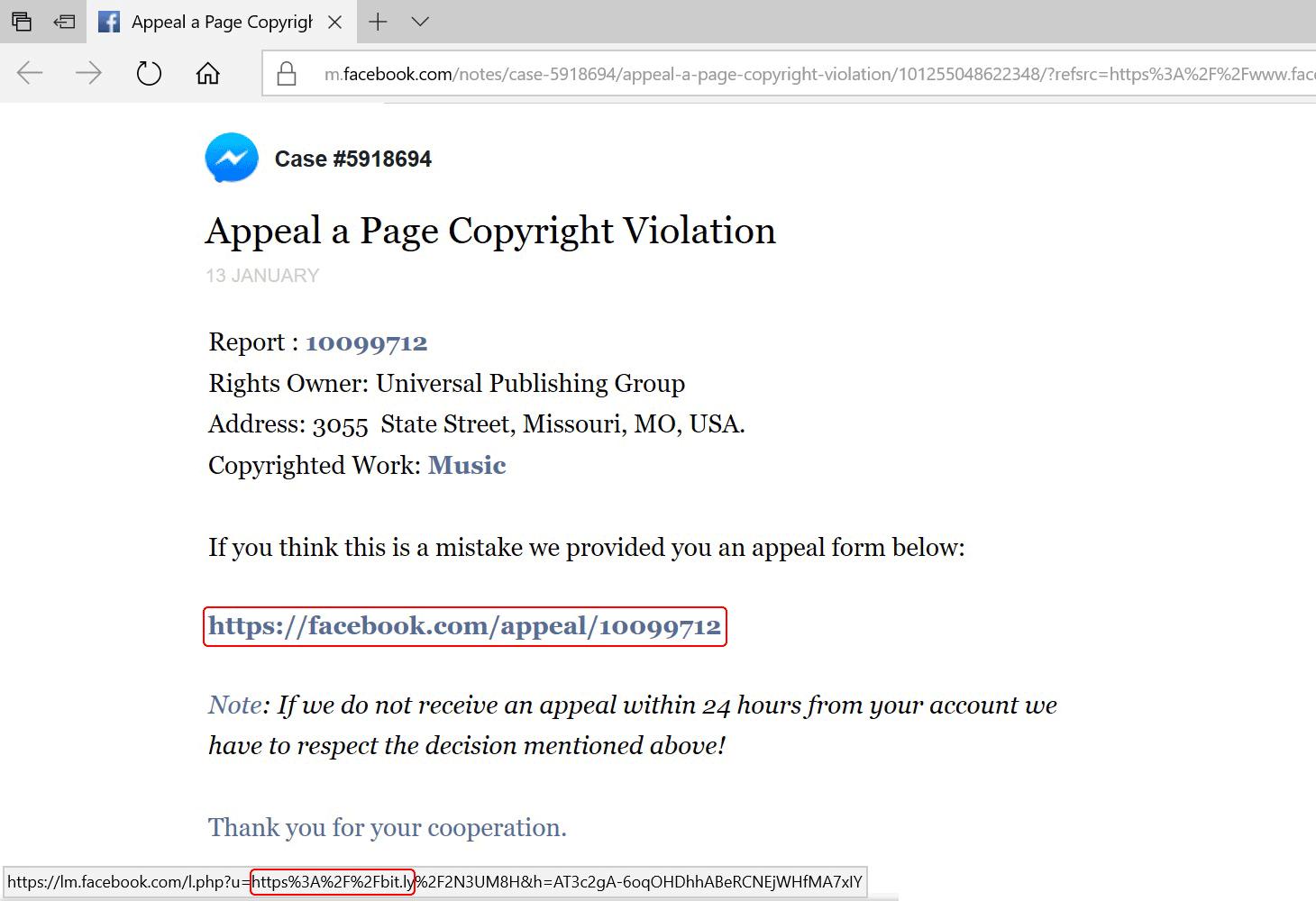 O endereço do link é visível no canto esquerdo inferior. À primeira vista, pode parecer interno, mas aponta para uma fonte externa via bit.ly