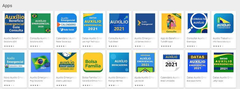 Exemplos de apps falsos relacionados ao Auxílio Emergencial disponíveis na Google Play