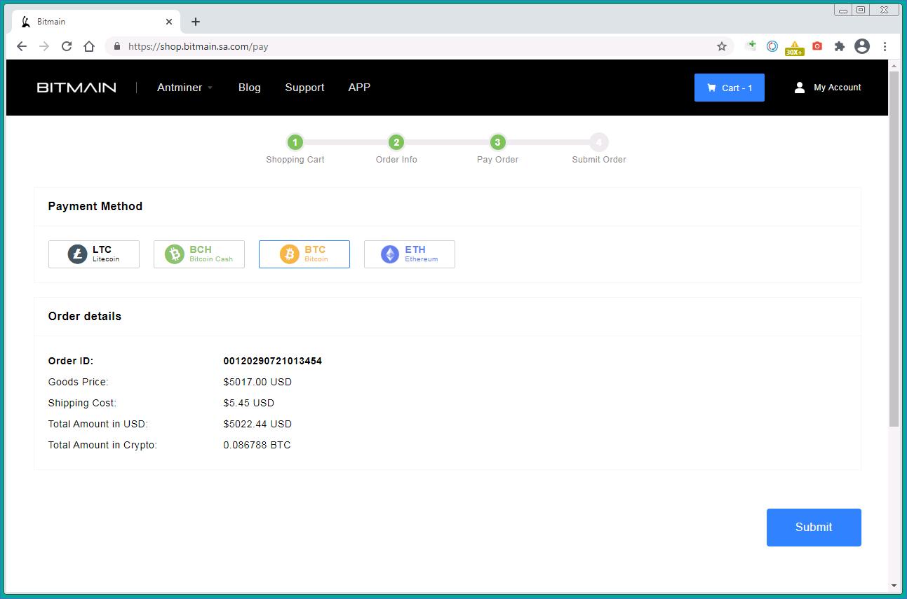 Selecionando de uma forma de pagamento: Bitcoin, Ethereum, Bitcoin Cash ou Litecoin