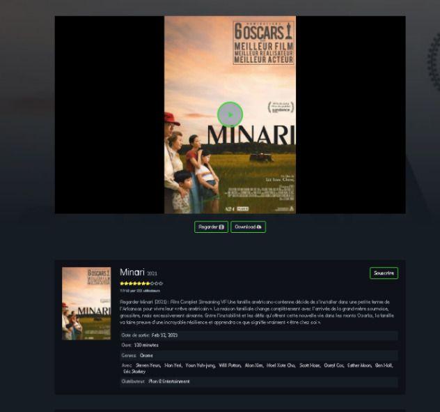 Exemplo de site de phishing oferecendo de dois filmes concorrendo ao Oscar 2021