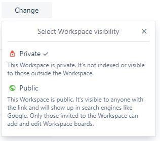 Configurações de visibilidade do espaço de trabalho do Trello