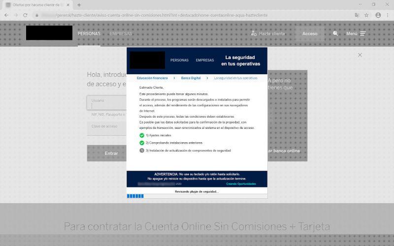 Exemplo de bloqueio de página de login informando o cliente que atualizações de segurança estão sendo instaladas