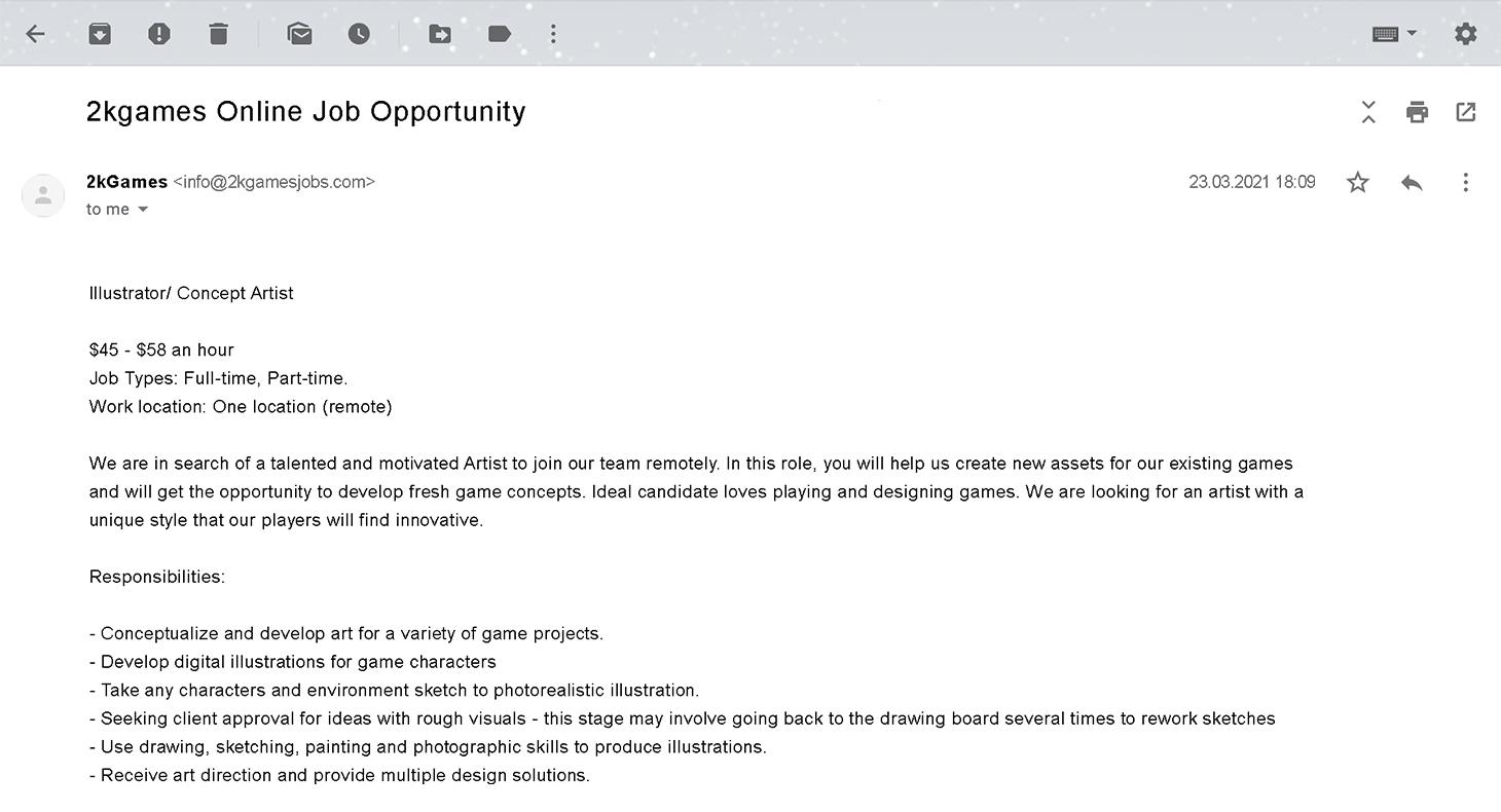 E-mail falso sobre um trabalho de trabalho em casa