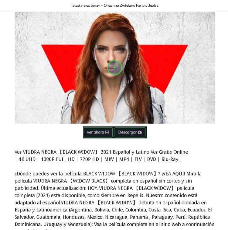 Exemplo de phishing que oferece o filme Viúva Negra