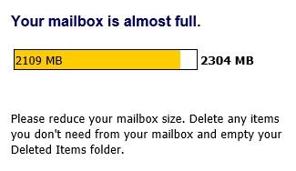 Notificação legítima sobre uma caixa de entrada quase cheia