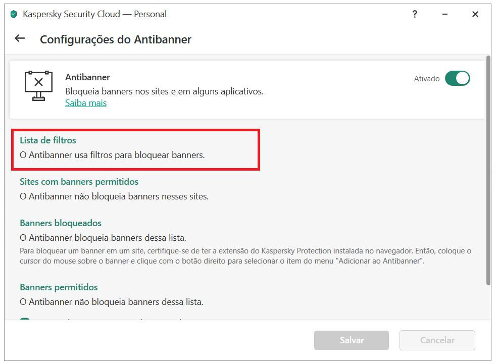 Configurando o Antibanner no Kaspersky Security Cloud