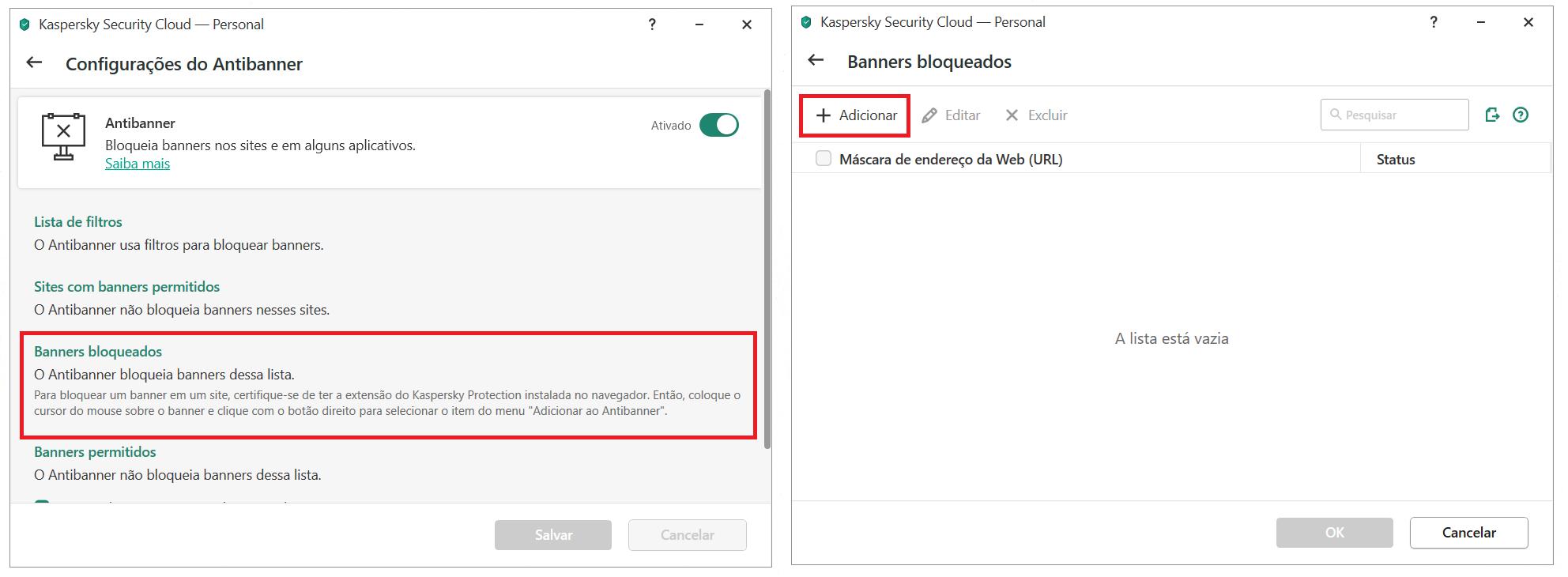 Adicionando um banner à lista de bloqueio no Kaspersky Security Cloud
