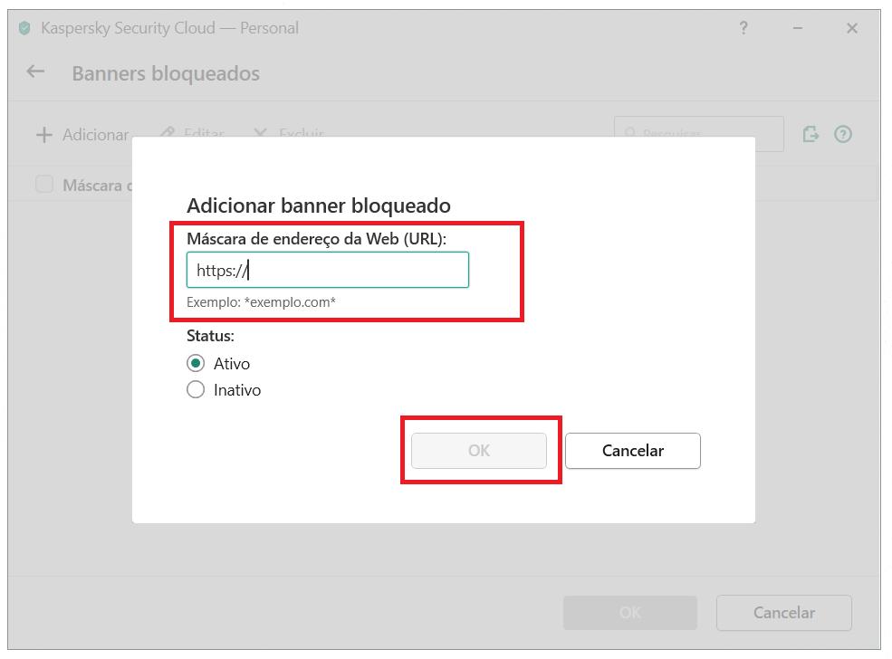 Adicionando um banner à lista de bloqueio do Kaspersky Security Cloud
