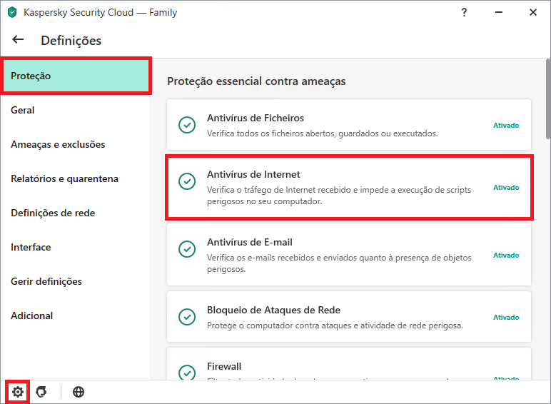 Configurando Kaspersky Internet Security ou Kaspersky Security Cloud