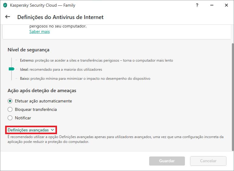Configurações do Antivírus de Internet no Kaspersky Internet Security ou Kaspersky Security Cloud