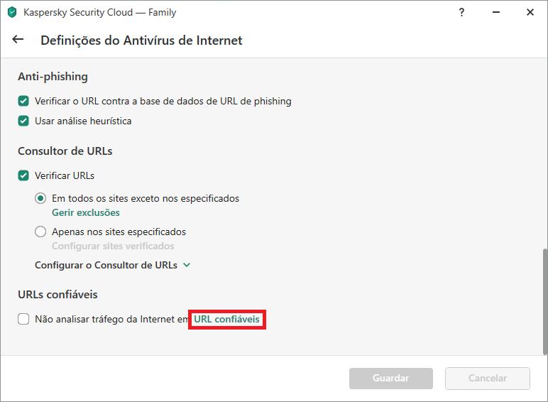 Lista de definições avançadas web do antivírus no Kaspersky Internet Security ou Kaspersky Security Cloud