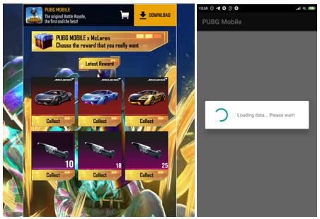 À esquerda, uma página de phishing oferecendo download do jogo PUBG para celular, que, na verdade, é um software indesejado. À direita, um aplicativo PUBG falso que na verdade é um trojan que coleta dados do usuário.