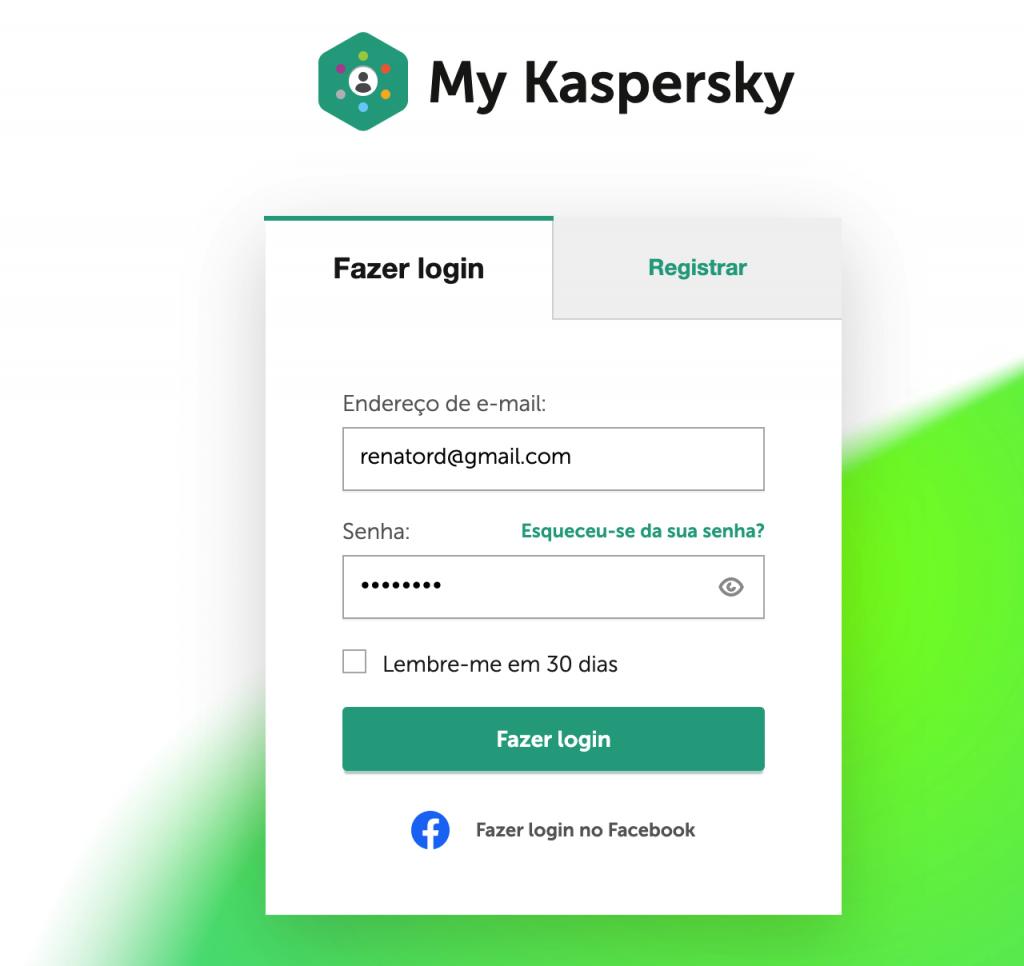 Tela de login do serviço MyKaspersky