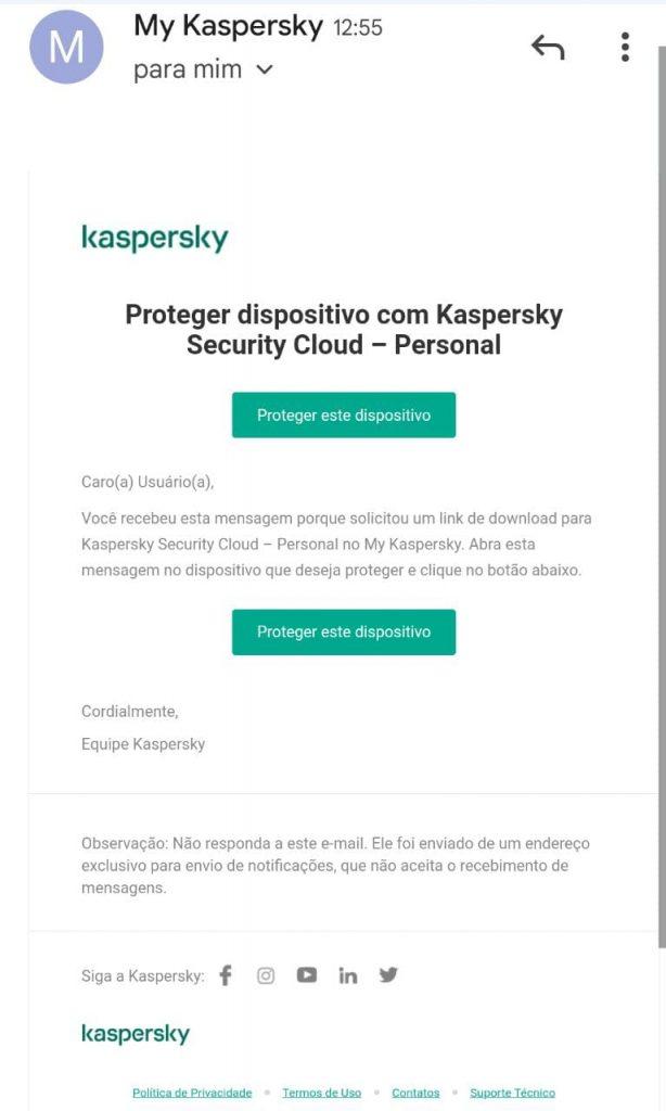 email que será recebido pela pessoa a ser protegida com sua licença