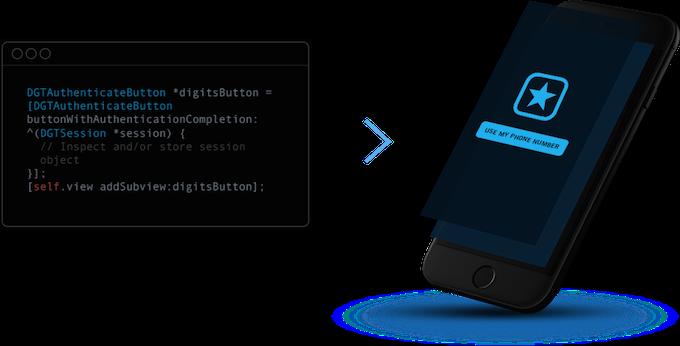 Wygląda na to, że kod wymagany do zaimplementowania Digits w Twojej aplikacji jest niewiarygodnie prosty