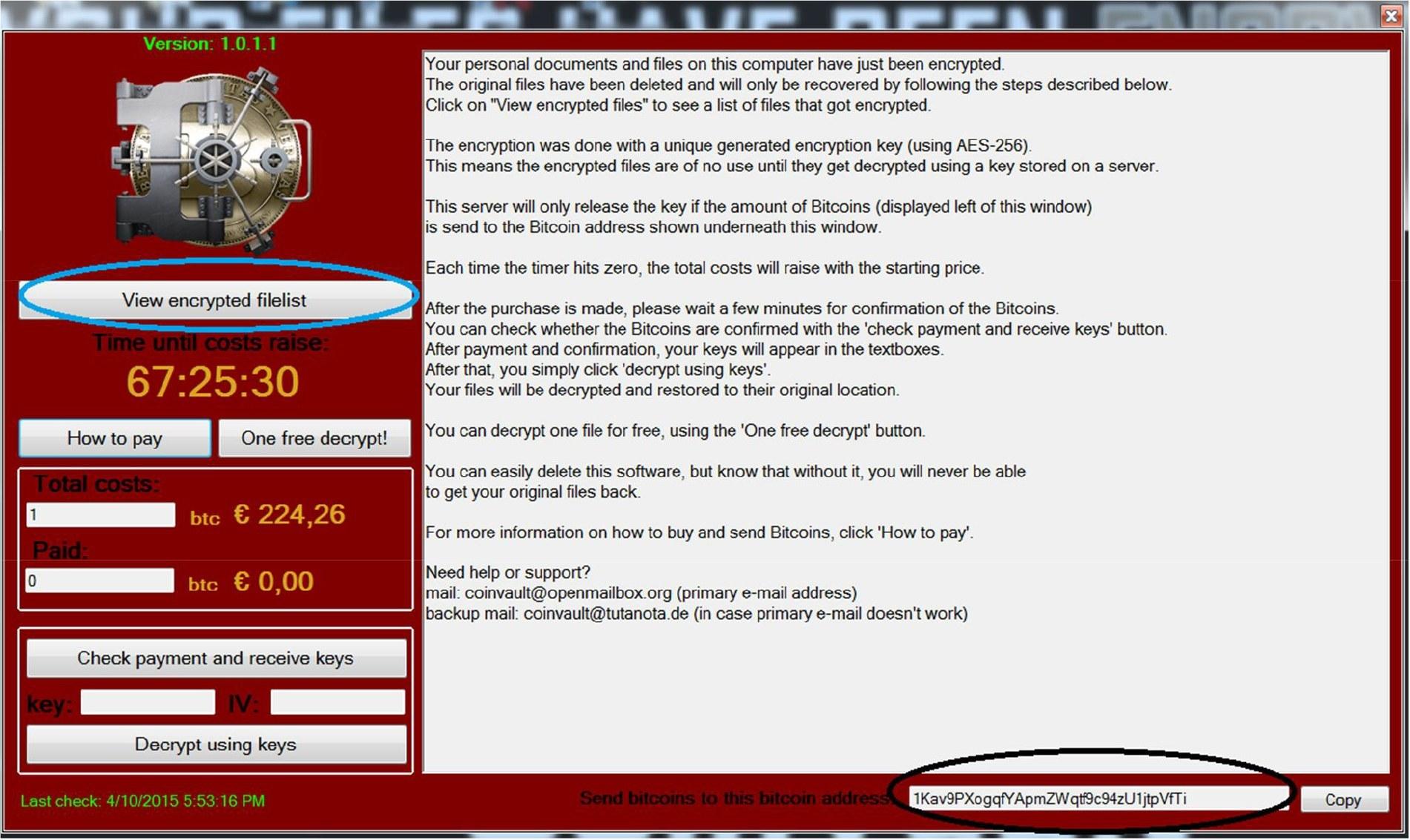 Zrzut ekranu komputera zainfekowanego szkodliwym oprogramowaniem CoinVault