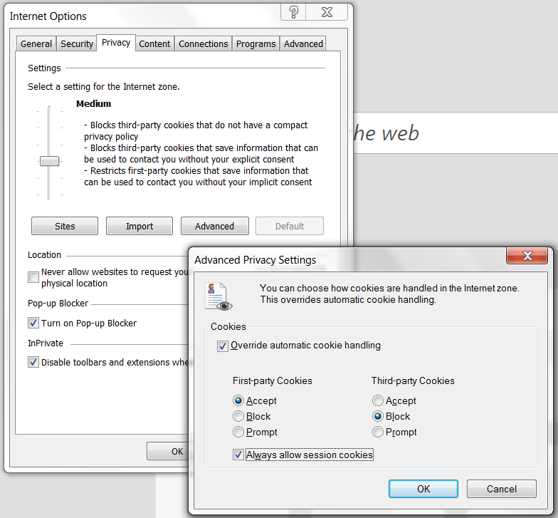 Control cookies in Microsoft Internet Explorer