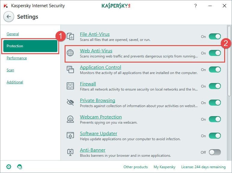 Open the settings in Kaspersky Internet Security