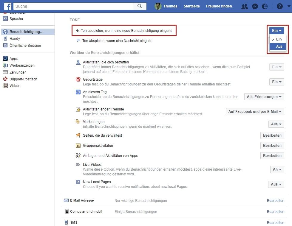 facebook email benachrichtigungen ausschalten