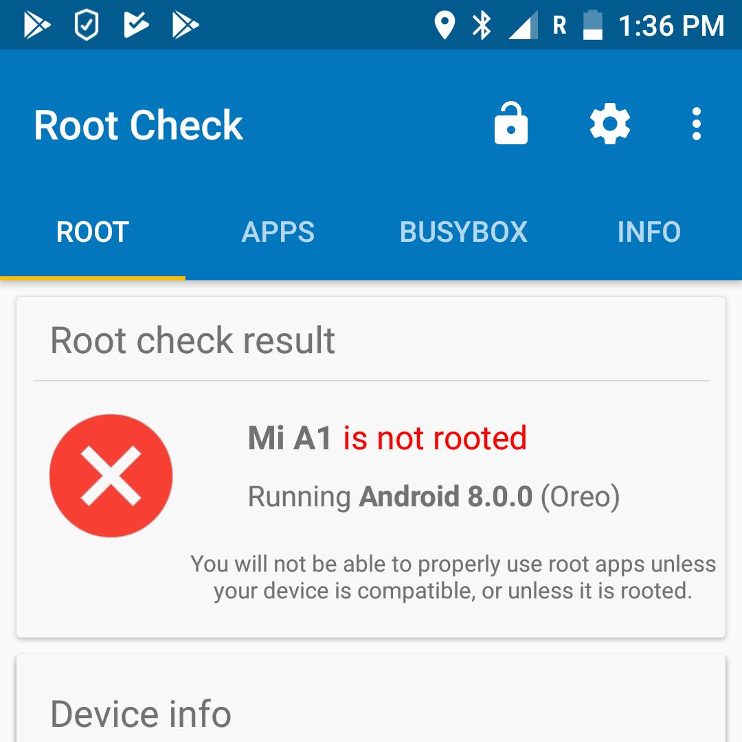 Beim Überprüfen des Root-Zugriffs weist eine rote Nachricht darauf hin, dass alles in Ordnung ist und keine Superuser-Rechte auf dem Smartphone erlangt wurden.