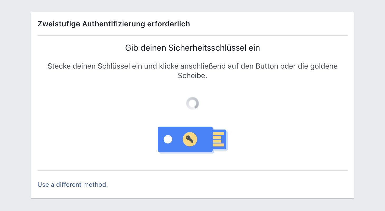 Facebook-Authentifizierung via YubiKey