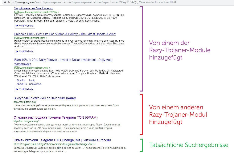Trojaner Razy zeigt Besuchern von Krypto-Tauschbörsen Fake-Angebote