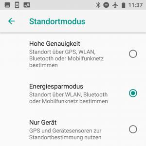 Energiesparmodus im Standortmodus bei Android 8