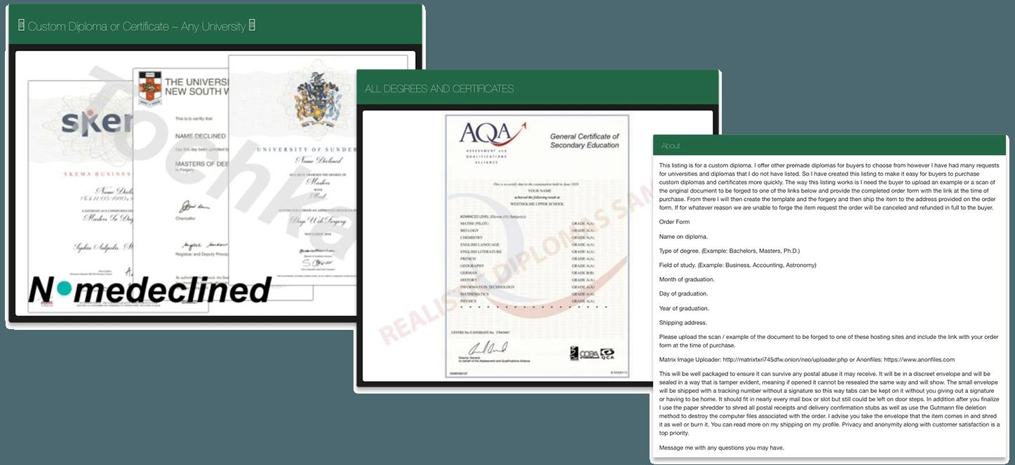 Ein Online-Schwarzmarkt, auf dem Zertifikate und Diplome verschiedener Institutionen verkauft werden