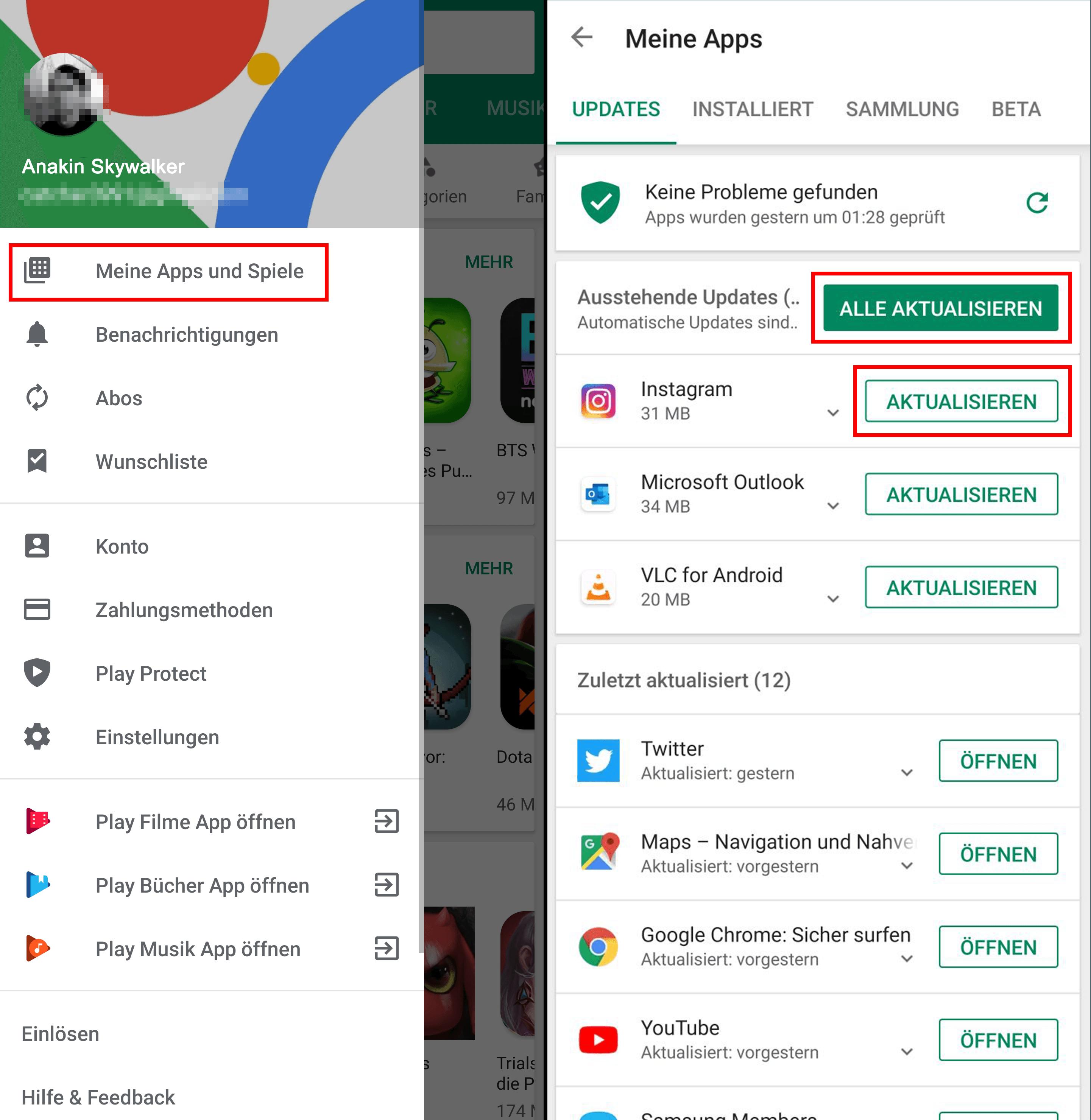 Android Aktualisieren