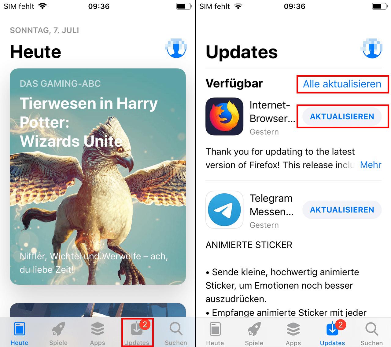 Apps manuell in iOS aktualisieren