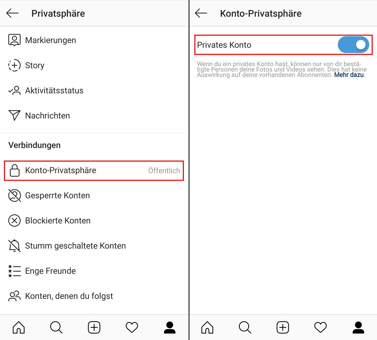 So machen Sie Ihren Instagram-Account privat
