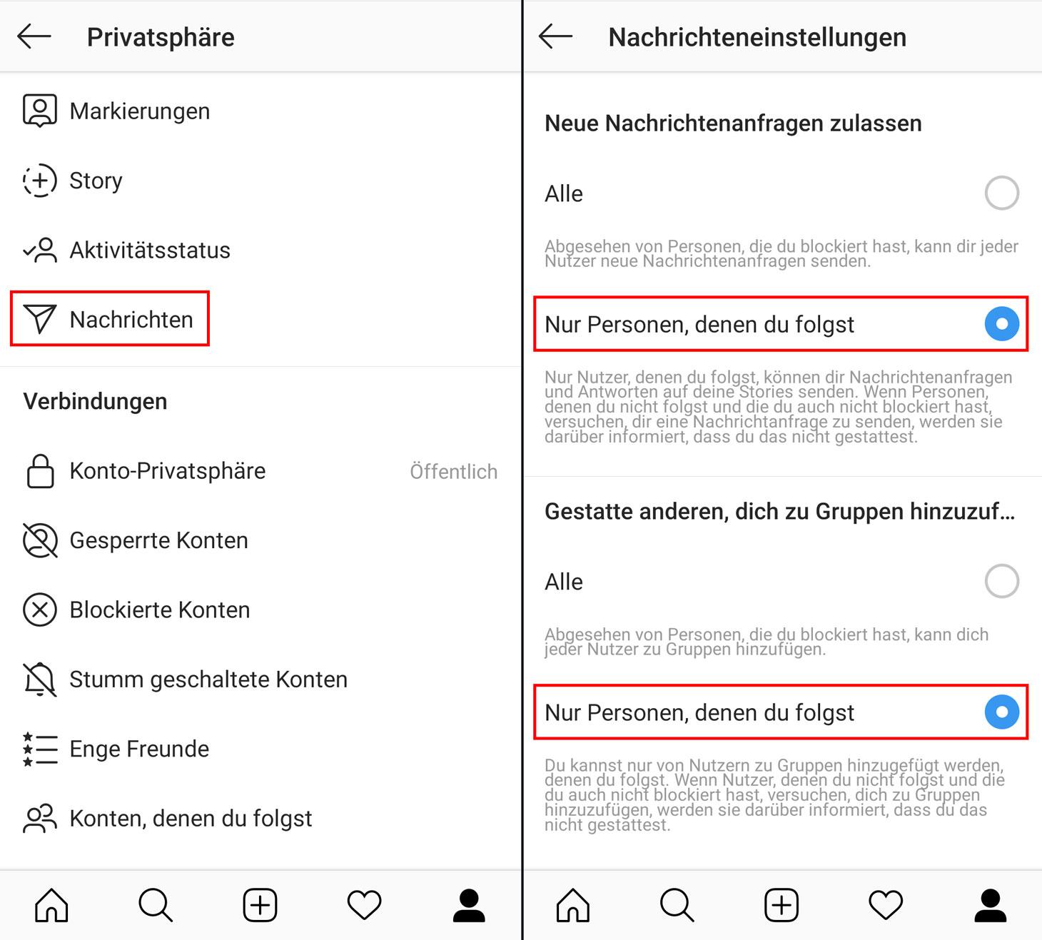 Heißes Blockieren von Spam in den direkten Nachrichten von Instagram und Verhindern des Hinzufügens zu zufälligen Gruppen