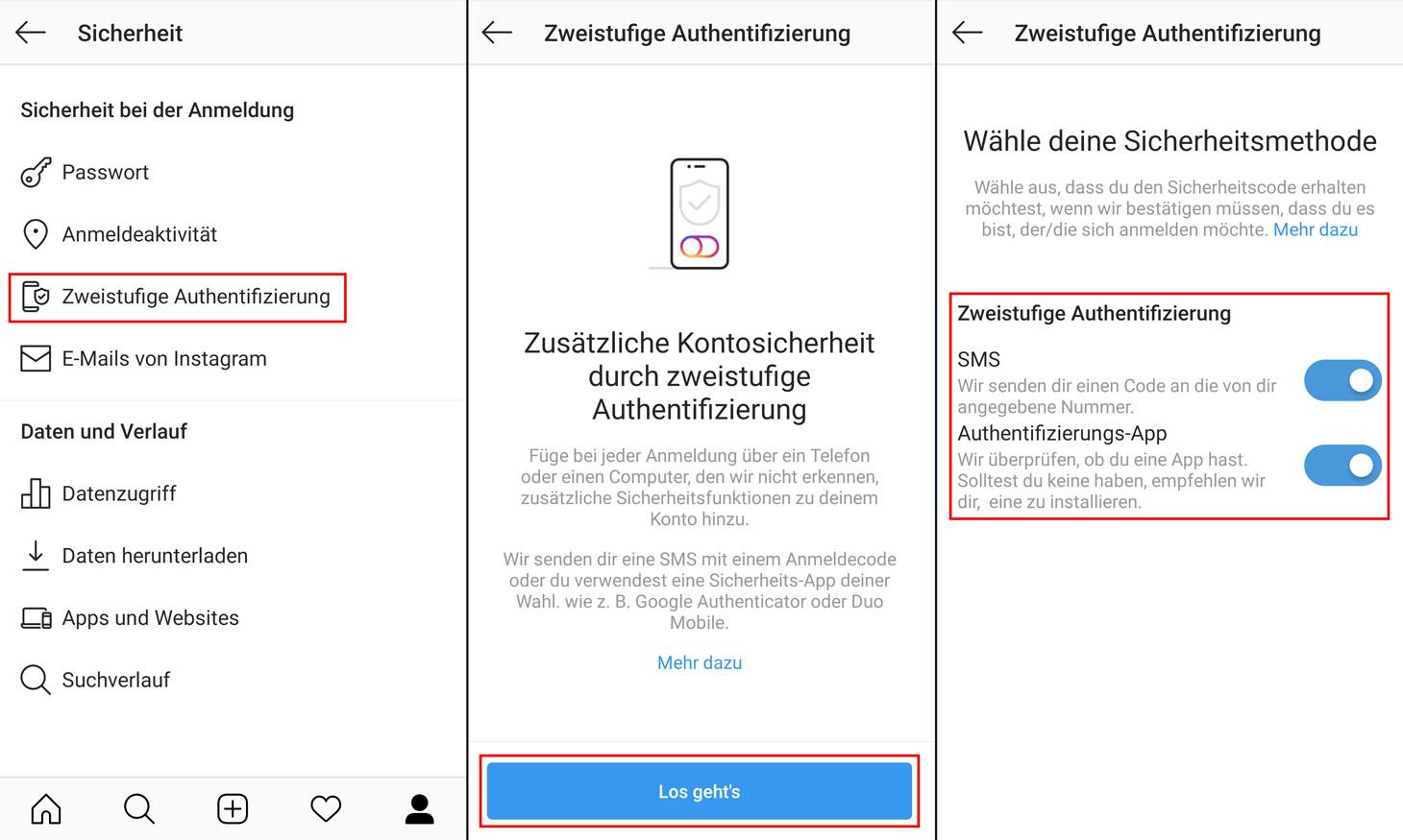 So richten Sie die 2FA in der Instagram-App ein