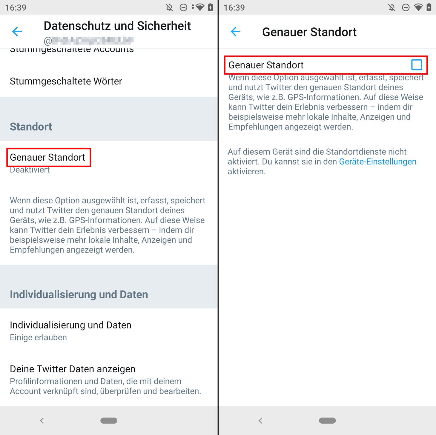 So deaktivieren Sie die Geolokalisierung in der Twitter-App