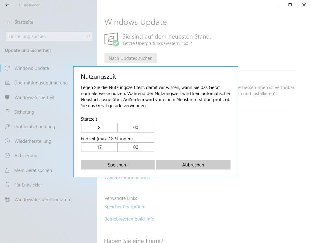 Geben Sie die Stunden an, zu denen Windows Update nicht ausgeführt werden soll, damit die Spieleleistung nicht beeinträchtigt wird.