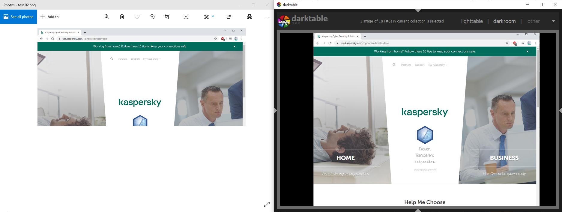Das gleiche Bild in verschiedenen Viewern. Der untere Teil des Bildes wurde in einer verborgenen Ebene versteckt, die in der App Darktable angezeigt wird.