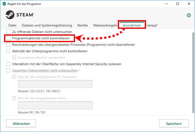 Wie man Regeln und Ausnahmen für Steam in Kaspersky Internet Security einrichtet