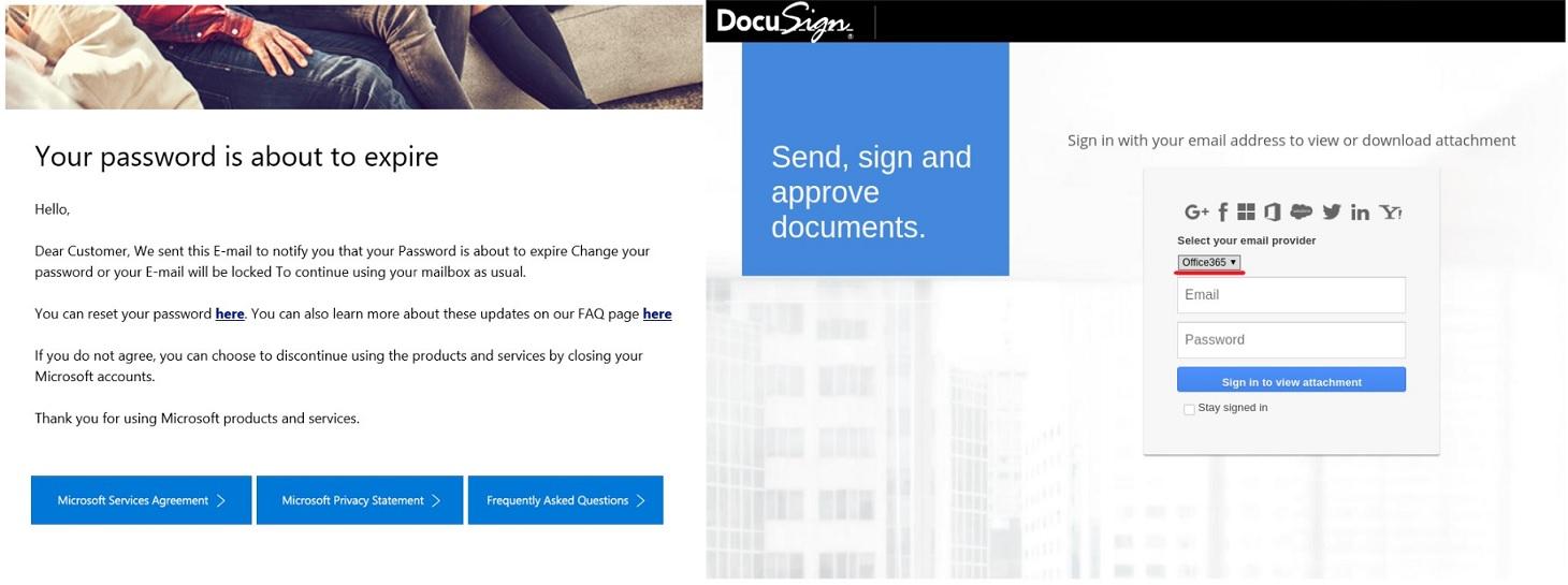 Gefälschte Benachrichtigung bei einem ablaufenden Passworts. E-Mail und Anmeldeseite